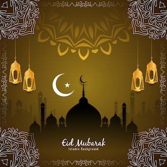 Festival islamique eid mubarak beau fond de vecteur
