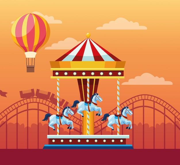 Festival juste avec des attractions amusantes paysages