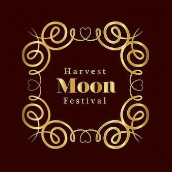 Festival de la lune des récoltes à l'intérieur du cadre or d'ornement sur la conception de fond rouge foncé, thème chinois oriental et célébration.