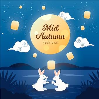Festival de mi-automne design plat
