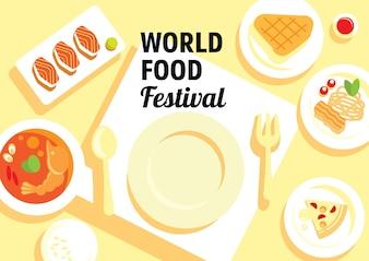 Festival mondial de l'alimentation avec de nombreux menus