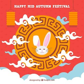 Festival moyen de l'automne, fond rouge avec cadre ornemental