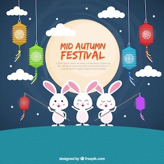 Festival moyen de l'automne, fond avec trois lapins