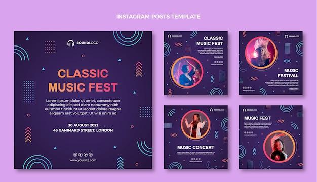 Festival De Musique Coloré Dégradé Ig Post Vecteur gratuit