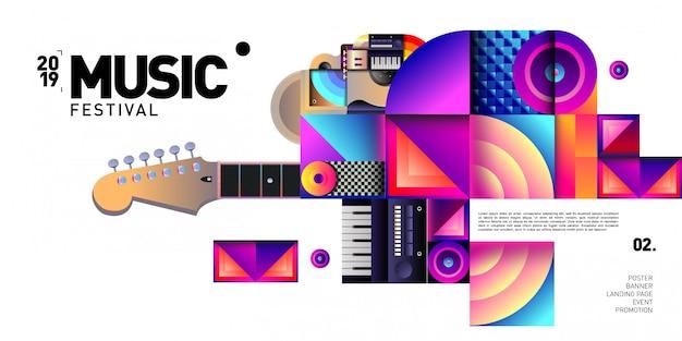Festival de musique coloré de vecteur pour bannière et affiche