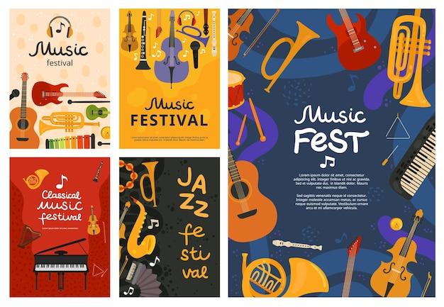 Festival de musique. concert de jazz, conception d'affiche d'instruments de musique. guitare et piano, fond de saxophone. flyers d'événement de chanson en plein air de vecteur. bannière d'illustration, guitare musicale et instrument de piano
