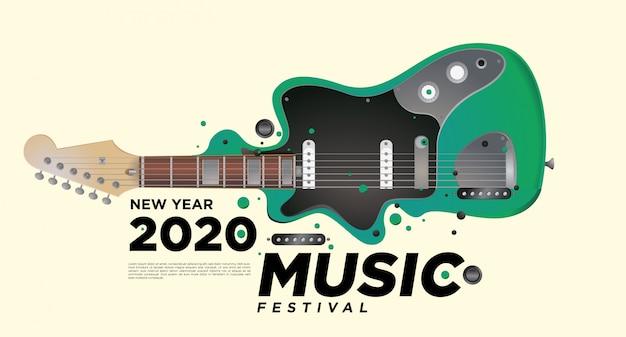 Festival de musique et de guitare illustration illustration pour la fête du nouvel an 2020.