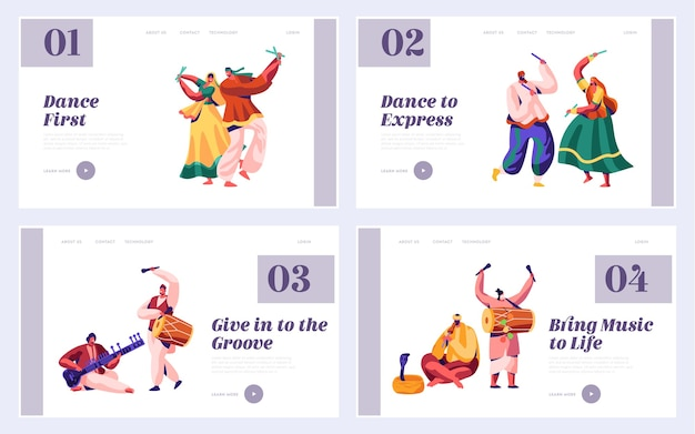 Festival de musique en inde ensemble de pages de destination. musicien jouant un instrument de musique dhol, tambour, flûte et sitar sur le site web ou la page web de la cérémonie nationale instrumentale en asie. illustration vectorielle de dessin animé plat