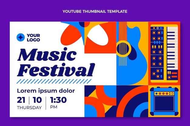 Festival de musique en mosaïque design plat