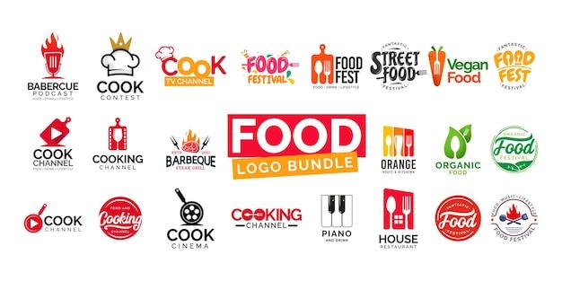 Festival de nourriture de paquet de conception de logo de nourriture