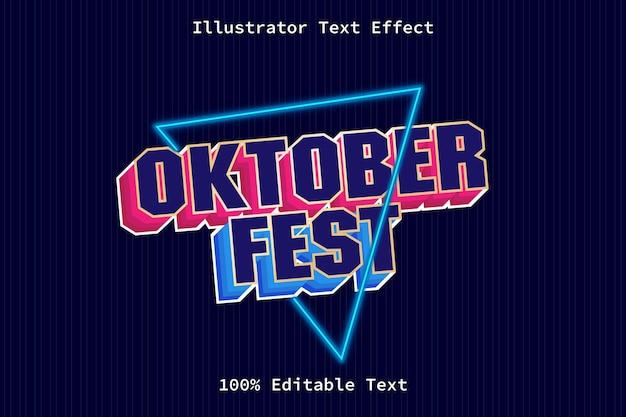 Festival d'octobre avec effet de texte modifiable de style néon de jeu moderne