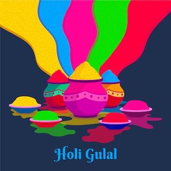 Festival plat coloré de holi gulal
