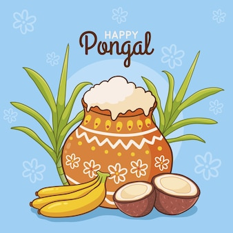 Festival de pongal dessiné à la main