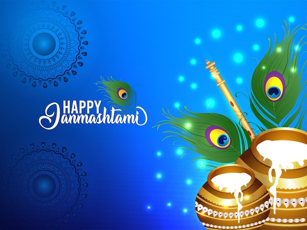 Festival de la religion indienne joyeux janmashtami vector illustration background