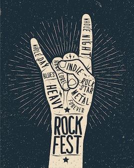 Festival de rock lettrage main dans la main dessiner style