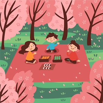 Festival de sakura hanami dessiné à la main