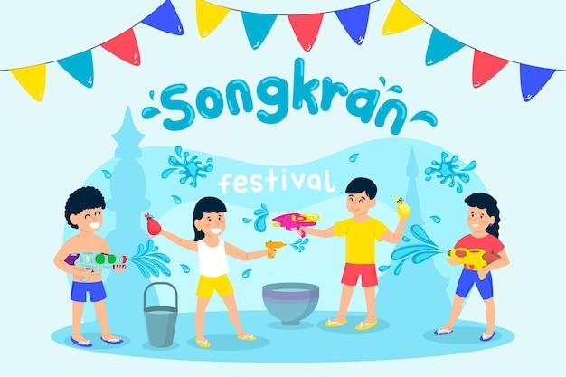 Festival de songkran au design plat