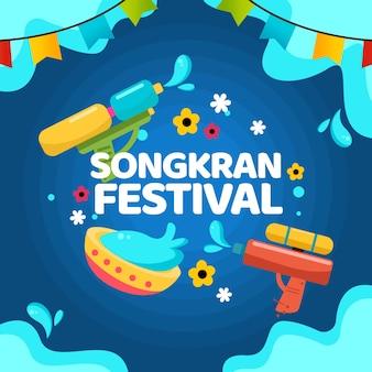 Festival de songkran avec des guirlandes