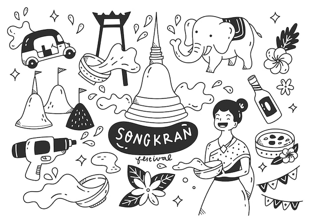 Festival de songkran en thaïlande doodle