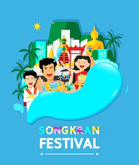Le festival de songkran en thaïlande marque le nouvel an de la thaïlande