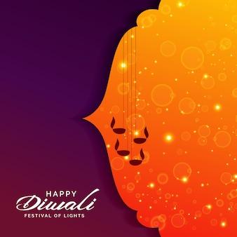 Festival de voeux pour diwali avec des lampes diya suspendus