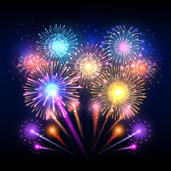 Festive, affiche avec feu d'artifice de fusées éclatant