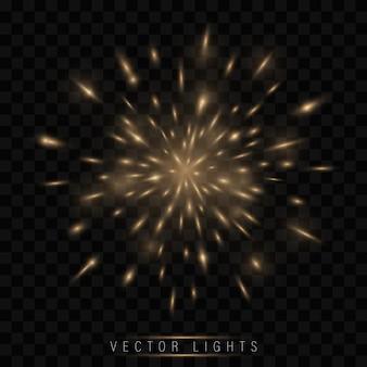 Festive golden firework salute burst