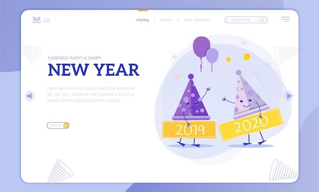 Fête d'adieu et nouvel an sur la page de destination