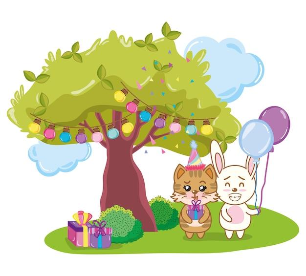 Fête des animaux joyeux anniversaire