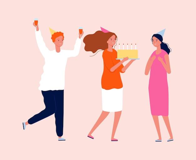 Fête d'anniversaire. amis avec des gâteaux et des boissons. homme femme mignonne sur illustration vectorielle de parti