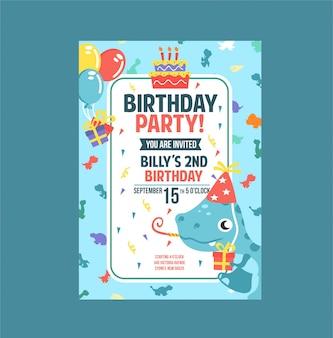 Fête d'anniversaire de carte d'invitation de dinosaure bleu mignon