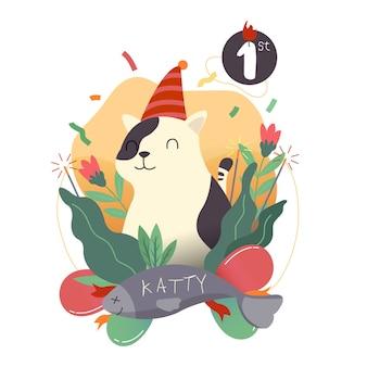 Fête d'anniversaire chat avatar
