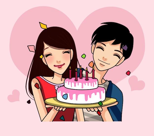 Fête d'anniversaire de couple avec illustration de dessin animé de gâteau de tenue