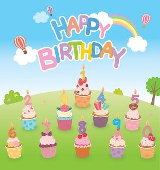 Fête d'anniversaire de cupcakes.