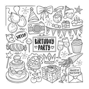 Fête d'anniversaire dessiné à la main doodle coloring