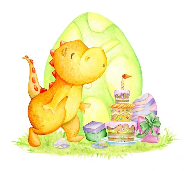Fête d'anniversaire de dinosaure. illustration aquarelle