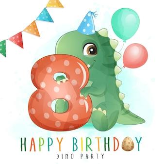 Fête d'anniversaire de dinosaure mignon avec illustration de numérotation