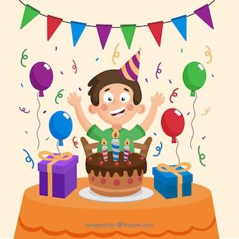 Fête d'anniversaire avec un garçon heureux célébrant