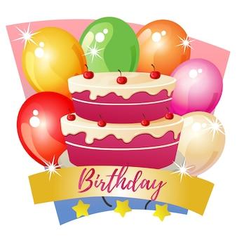 Fête d'anniversaire avec un gâteau