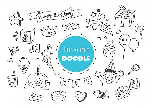 Fête d'anniversaire kawaii doodle