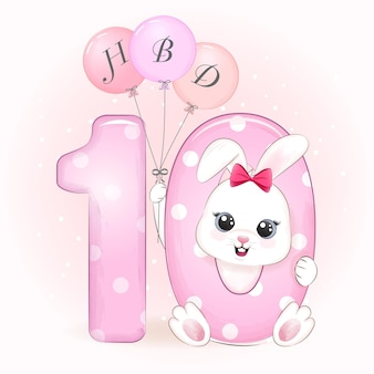 Fête d'anniversaire de lapin mignon avec numéro