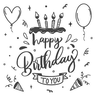 Fête d'anniversaire lettrage bougies sur gâteau