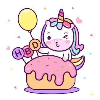 Fête d'anniversaire de licorne kawaii