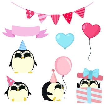 Fête d'anniversaire des pingouins kawaii