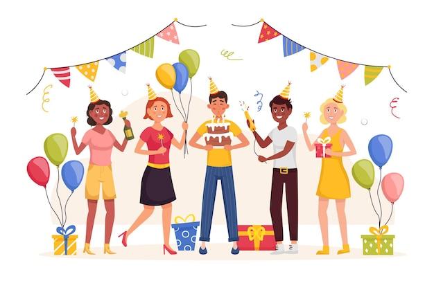 Fête d'anniversaire plat vector illustration