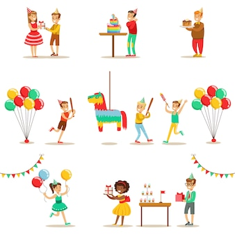 Fête d'anniversaire pour enfants ensemble de scènes