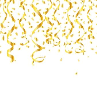Fête des banderoles de confettis dorés.
