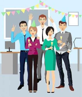 Fête de bureau. l'équipe des entreprises célèbrent. discothèque d'entreprise.