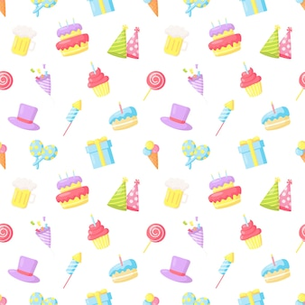 Fête célébration modèle sans couture anniversaire carnaval articles de fête sur fond blanc
