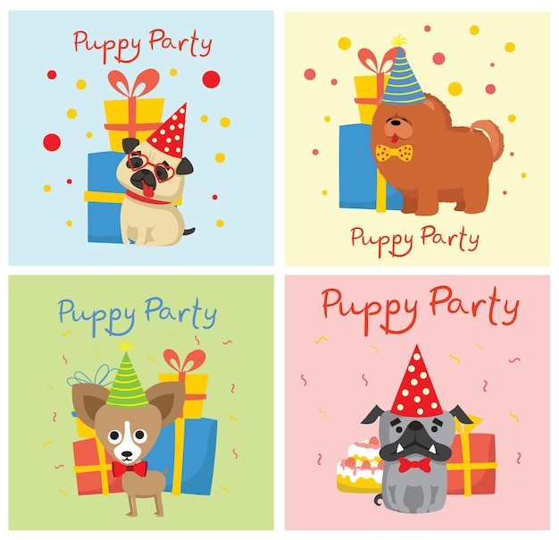 Fête de chiot et cartes de voeux mignonnes avec des cadeaux et des chiots illustration de style plat chien